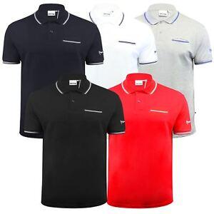 Argent-Comp-pour-Homme-Polo-Shirt-a-Manches-Courtes-en-Coton-Col-Haut-Decontracte