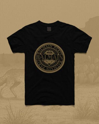 Rare Mens balmain gold logo paris t shirt black merch 2020 GILDAN S-2XL