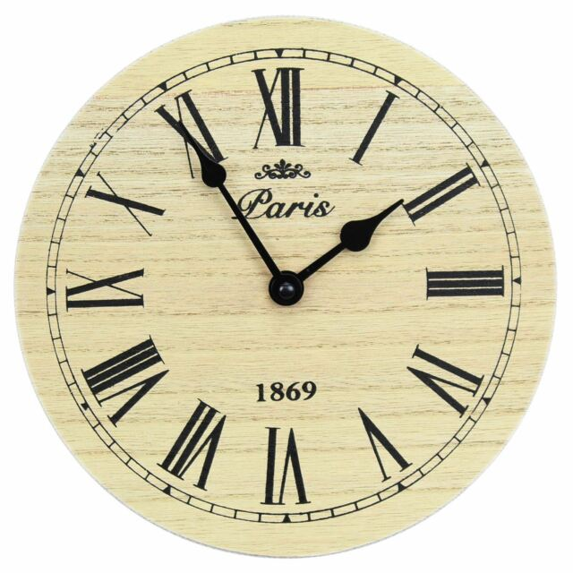 Small Round Wooden Paris Wall Clock 20cm