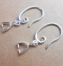 5 pairs Solid 925 Sterling Silver French Hook Earring Finding Ear Wire 17mm SF30
