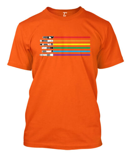 Force Sci Fi Parody Mens T-Shirt Rainbow Lightsaber
