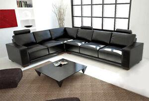 Design Leder Sofa Couch Polster Eckgarnitur Wohnlandschaft L Form