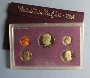 """>>1984-s  KENNEDY HALF  5-COIN """"PROOF"""" SET, San Francisco Mint in Display Case"""