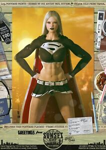 Supergirl-Sexy-Dark-Evil-039-Sunset-City-039-Signed-A3-Comic-Art-Print-Superman-DC