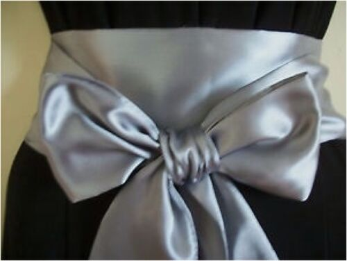 "3.5x100/"" DARK SILVER GREY SATIN FABRIC SASH BELT SELF TIE BOW WEDDING PARTY PROM"