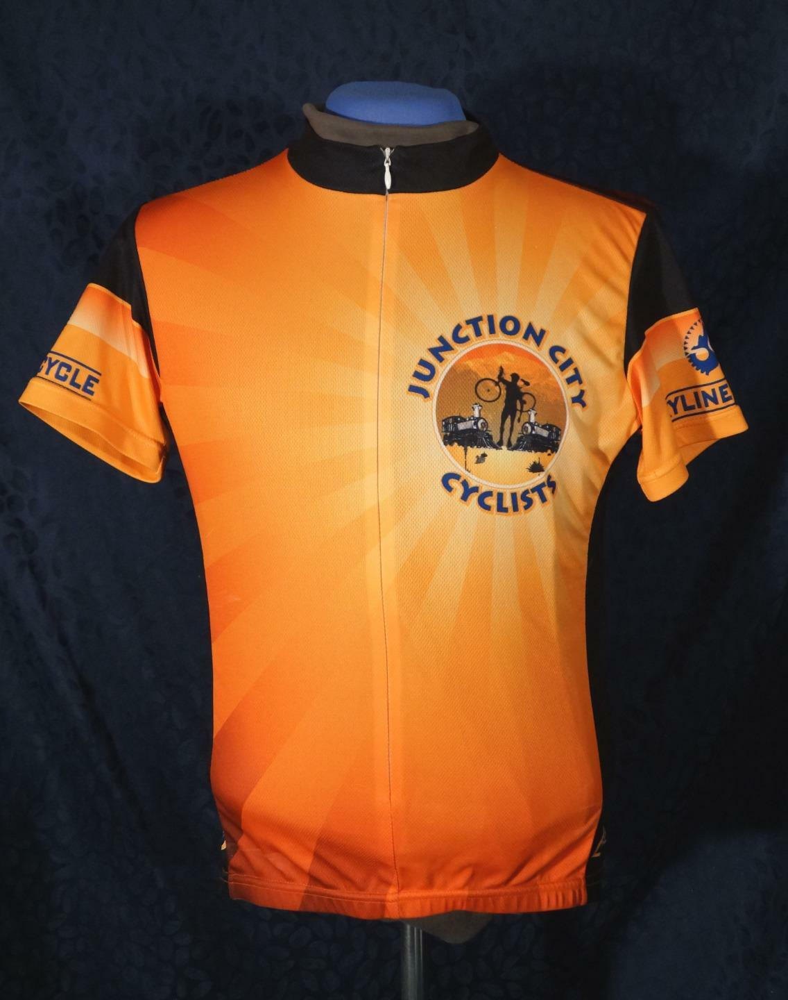 Handsome orange PRIMAL Junction City Cyclists Raglan Cycling Jersey Sz M