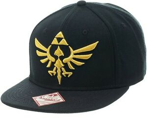 Cappello-The-Legend-Of-Zelda-Hylian-Crest-Logo-snap-back-black-Cap-Hat-Bioworld