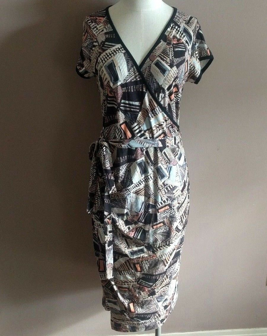 Peruvian Connection Women's S Faux Wrap Jersey Dress Short Sleeve Abstract Print