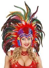 Multi Pluma Cabaret Mardi Gras Corista burlesco Indio Con Tocado Fancy Dress