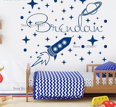 Wall Sticker Decal Space Theme Custom Name Vinyal Space Ship Rocket 49cm x 40cm