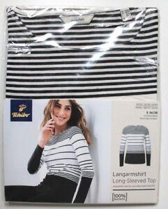 Designermode offizieller Shop Laufschuhe Details zu Damen Langarmshirt Schwarz-Weiß Gr. S 36/38 NEU TCM Tchibo