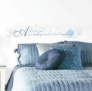 Details about CINDERELLA Quote A DREAM IS A WISH YOUR HEART MAKES wall  sticker 13 decal Disney