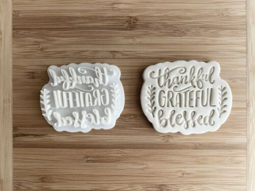 Thankful Grateful Blessed Cookie Cutter and Stamp Set Thanksgiving