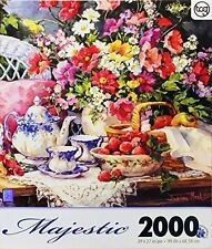 TCG Barbara Mock 2000 Piece Jigsaw Puzzle Tea  Strawberries Flowers Art Print
