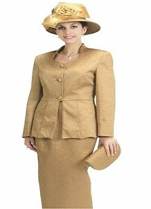 3f46cc45d Sunday Best Women Church Suit Gold Stereo Check 2 Peice set L366 | eBay