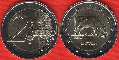 LATVIA Lettonia Lettland 2016 COW Mucca COIN UNC from MINT roll BIMETAL 2 euro