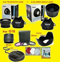23pcs: 0.43x Wide 2.2x Telephoto Lens+adapter To-> Canon G16 16 Powershot 58mm