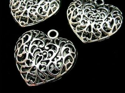3 x Large Puffed Filigree Tibetan Silver Heart Pendant Necklace Gift L23