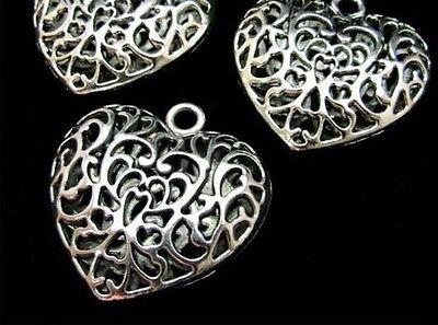 3 Piezas Grandes engreído De Filigrana De Plata Tibetana Corazón Colgante Collar Regalo L23