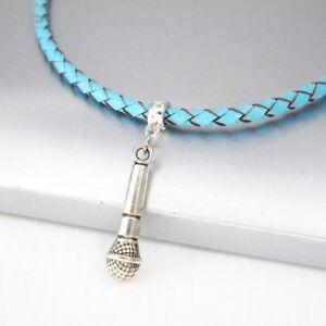 Silber Zinn Mikrofon Mikrophon Musik Anhänger Geflochten Blau Leder Halsketten GläNzend