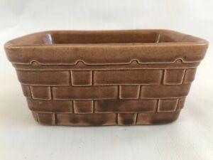 Brown-Basket-Pottery-Planter-Vintage-Marked-USA