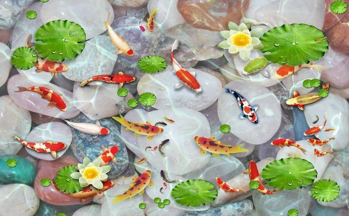 3D Stones Lotus Fish Floor WallPaper Murals Wall Print Decal 5D AJ WALLPAPER