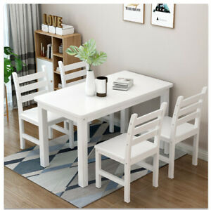 Modern-Solid-Wood-White-Dining-Table-and-4-Chairs-Set-Home-Kitchen-Furniture