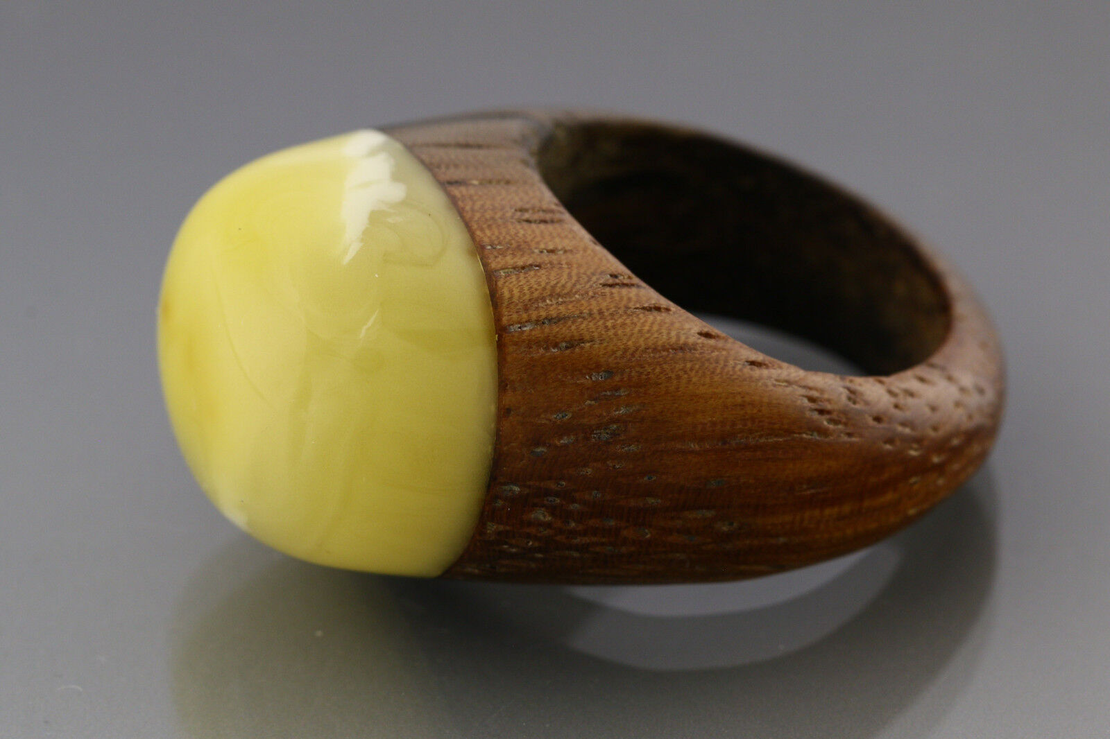 Genuine BALTIC Sea AMBER Wooden RING 7.25 UNISEX 17.7mm 4.9g 181106-5