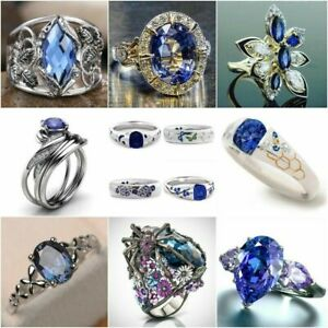Woman-Sapphire-925-Silver-Cocktail-Ring-Wedding-Engagement-Jewelry-Gift-Size6-10