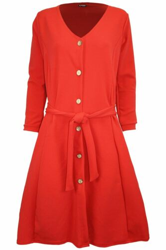 Womens Buttons Down Long Sleeve Ladies Ribbed Flared Smock Swing Mini Dresses
