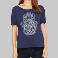 Womens Scoop Neck Shirts - Hamsa Hand Yoga Graphic Tshirts, Plus Size, Tee