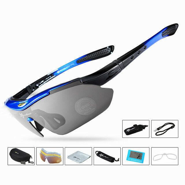 fd23cdc3267 RockBros Polarized Cycling Sunglasses Goggles Eyewear Sport Glasses 5  Lenses Black Blue for sale online