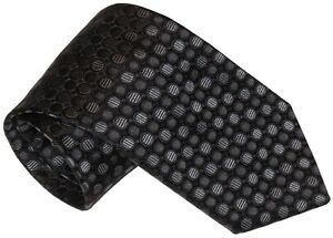 NEW-BRIONI-BLACK-w-GRAY-TONES-GEOMETRIC-CIRCLES-100-SILK-NECK-TIE