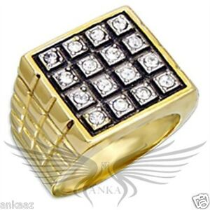 Men-039-s-Gold-Plated-Top-Grade-Crystals-Ring-8-9-10-11-12-13-2W078