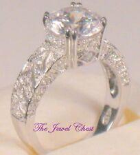 3.50 Ct Round Solitaire Antique VVS1 Diamond Bezel Engagement Ring White Gold