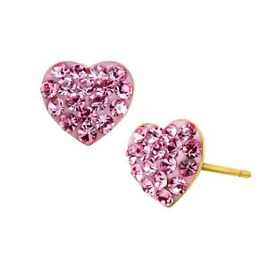 Girl-039-s-Heart-Stud-Earrings-with-Pink-Crystals-in-14K-Gold