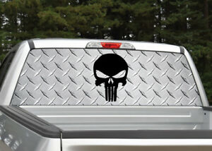 Truck Back Window Decals >> Details About Punisher Skull Black Diamond Plate Rear Window Decal Graphic For Truck Suv