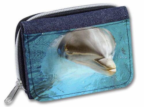 Dolphin Close-Up Girls//Ladies Denim Purse Wallet Christmas Gift Idea AF-D5JW