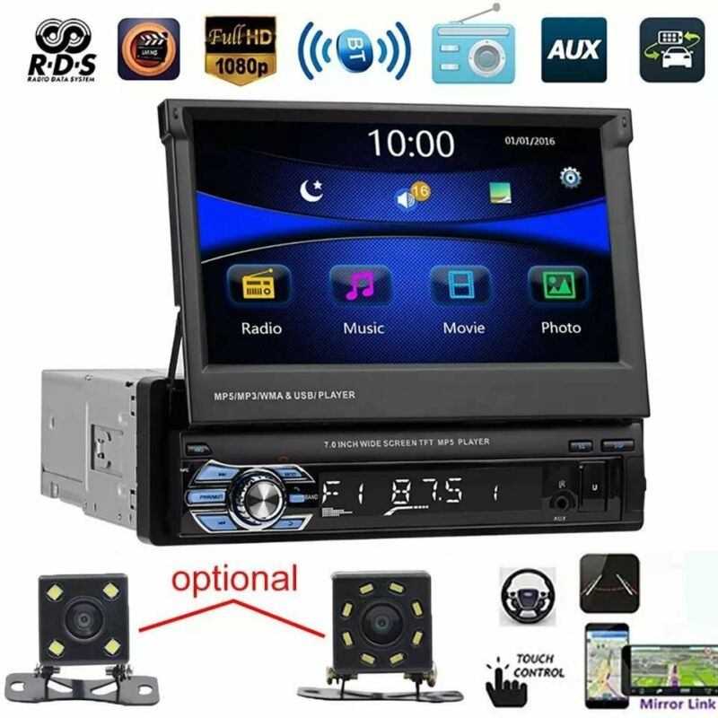 7 Inch Mp5 Player With Retractable Touch Screen