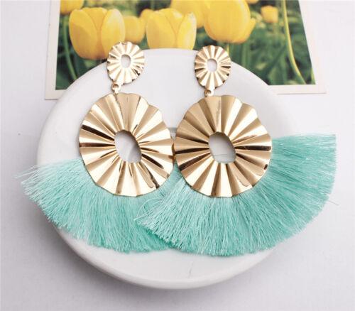 Women Thread Long Tassel Earrings Rhinestone Drop Statement Fringe Earrings