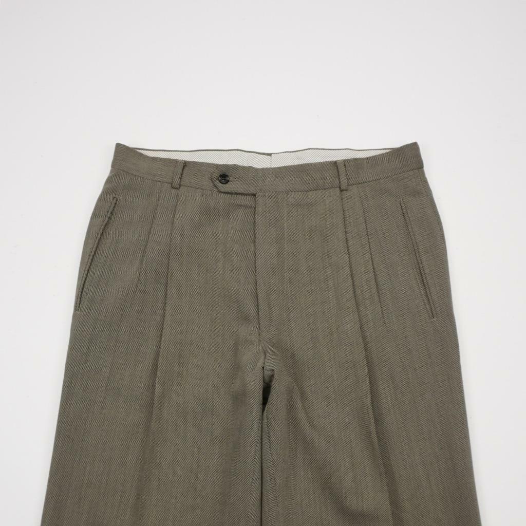 HUGO BOSS Lined Pleated Cuffed Wool Dress Pants Olive Mens 36x33