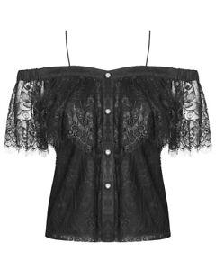 Punk-Rave-Womens-Gothic-Off-Shoulder-Blouse-Top-Black-Lace-VTG-Lolita-Steampunk