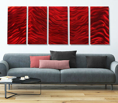 Huge Metal Abstract Modern Wall Art Wall Painting Accent Artwork - Red Vibe XL