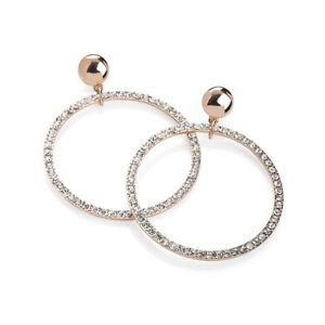 Ladies-Rose-Gold-Coloured-Crystal-Hoop-Earrings-Fashion-Jewellery