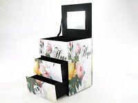 Floral Design Glass Jewelry Trinket Box