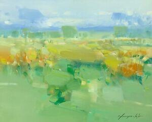 Field in Bloom, Original Oil painting, Handmade artwork, One of a kind