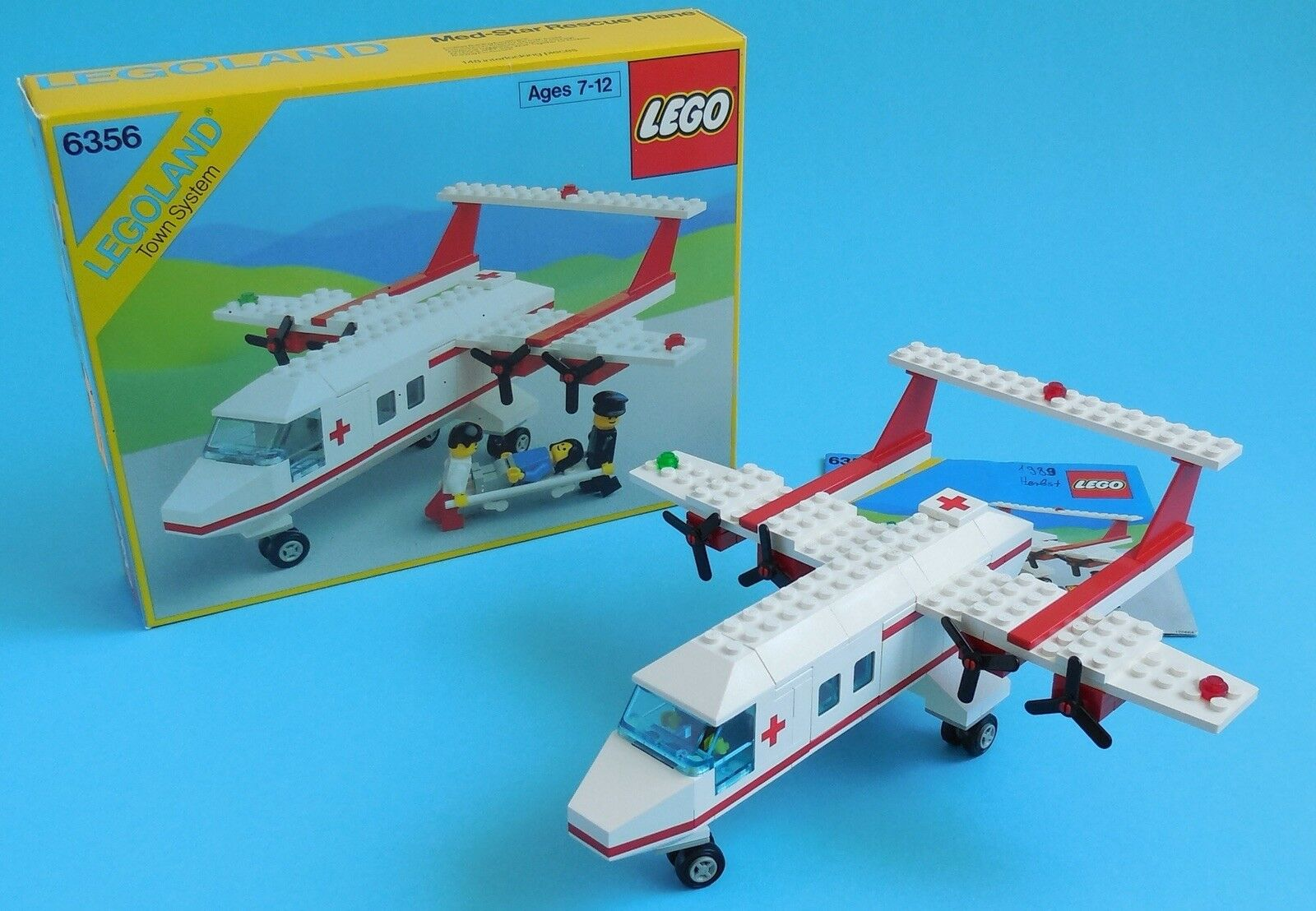 VTG LEGO Town Classic Med-Star Rescue Plane 6356 - 100% complete w/box & manual