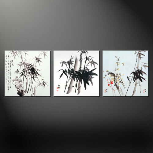 CHINESE BAMBOO FLORAL 3 PANELS CANVAS PRINT ART READY TO HANG