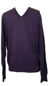 NEW-BROOKS-BROTHERS-MEN-039-S-SAXXON-WOOL-PURPLE-V-NECK-SWEATER-M-265