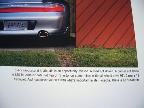 PORSCHE OFFICIAL 996 911 CARRERA 4S CABRIOLET PARKED IN GARAGE POSTER 2003-2005